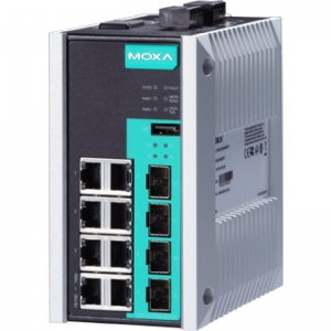 12-port full Gigabit managed Ethernet switch, 8 10/100/1000BaseT PoE/PoE+ ports, 4 100/1000BaseSFP slots,