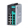 12-port full Gigabit managed Ethernet switch, 8 10/100/1000BaseT PoE/PoE+ ports, 4 100/1000BaseSFP slots, -40 to 75°C operating temperature
