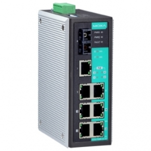 Switch: 3 x 10/100BaseT(X), 4 x PoE, 1 x 100BaseFX single-mode SC, 0 kuni 60°C, mittemanageeritav DIN