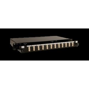 FO paneel 12xSC simplex liikuva riiuliga 19´´ 1U must adapteritega