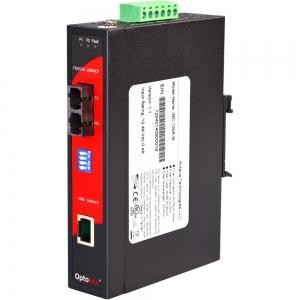 Tööstuslik konverter: 10/100T(X) to 100FX SC SM kuni 30km, -40° kuni 80°C, DIN