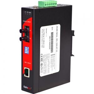Tööstuslik konverter: 10/100T(X) to 100FX ST SM kuni 30km, -10° kuni 70°C, DIN