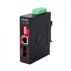 Tööstuslik konverter: 10/100T(X) to 100FX SC SM kuni 30km, -10° kuni 70°C, kompaktne, DIN