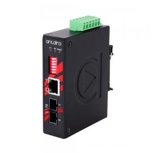 Tööstuslik konverter: 10/100T(X) to 100FX SC SM kuni 30km, -40° kuni 80°C, kompaktne, DIN