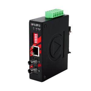 Tööstuslik konverter: 10/100T(X) to 100FX ST SM kuni 30km, -10° kuni 70°C, kompaktne, DIN