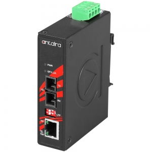 Tööstuslik konverter: 10/100/1000T(X) to 1000FX SC SM kuni 60km, -10° kuni 70°C, kompaktne, DIN