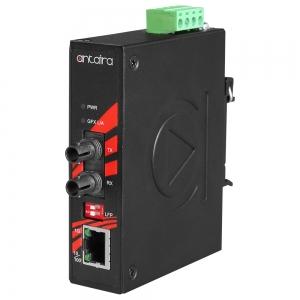 Tööstuslik konverter: 10/100/1000T(X) to 1000FX ST SM kuni 10km, -10° kuni 70°C, kompaktne, DIN