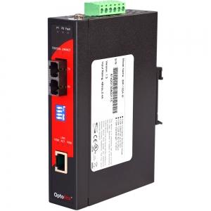 Tööstuslik PoE konverter: 10/100T(X) to 100FX SC SM kuni 30km, -40° kuni 80°C, DIN