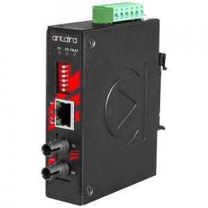 Tööstuslik PoE+ konverter: 10/100T(X) to 100FX ST SM kuni 30km, -40° kuni 80°C, kompaktne, DIN