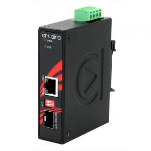 Tööstuslik PoE+ konverter: 10/100/1000T(X) to 100/1000 SFP, -40° kuni 80°C, kompaktne, DIN
