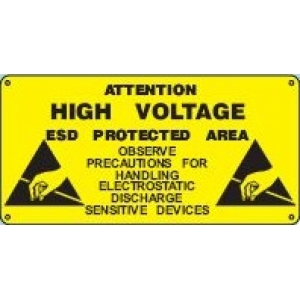 PVC RIGID SIGN ´´HIGH VOLTAGE - ESD PROTECTED AREA´´ - 600 x