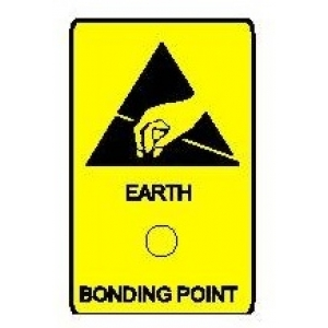 "ADHESIVE LABEL ""EARTH BONDING POINT"" - 25x45mm  Packages of 10"