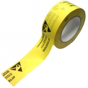 PVC PACKING TAPE - ESD symbol printed - black on yellow   Roll 50mm x 66mt