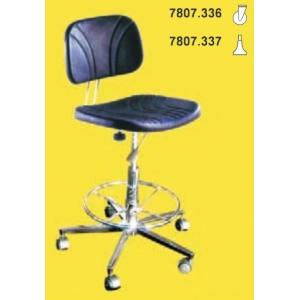 CLEAN ROOM CHAIR, H= 500/700, short back-rest, foot-plate, with castors