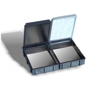 SNAPBOX4 transparent cover with spring ESD black - int. 68X57X15mm