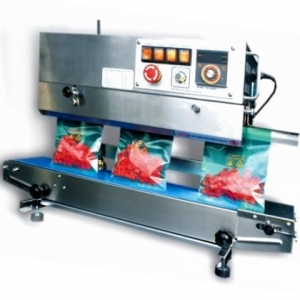 CONTINUOUS BAND SEALER - Vertical opening, Conveyor width 150mm