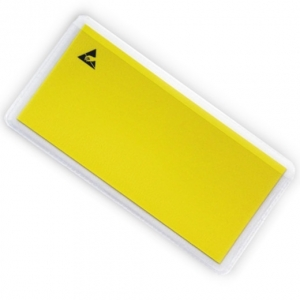 LABEL HOLDER  Transparent Adhesive with yellow ESD label 15 x 55 mm