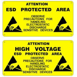 "PVC ADHESIVE SIGN ""ESD PROTECTED AREA""  300 x 150mm"