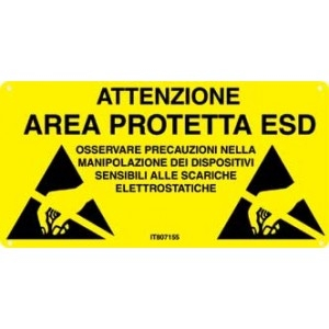 "LABEL -""A.T. AREA PROTETTA ESD"" italian rigid PVC 600x300mm"