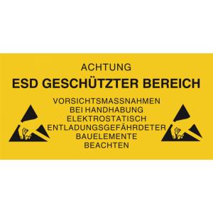 """Hoiatuskleeps PVC RIGID SIGN """"ACHTUNG ESD GESCHUTZTER BEREICH""""  600 x 300mm"""