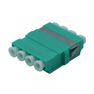 FO adapter multimode LC quad OM4 aqua