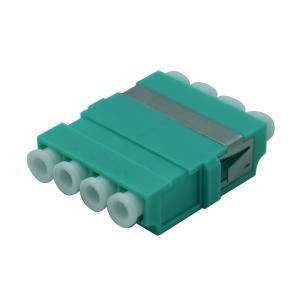 FO adapter multimode LC quad aqua