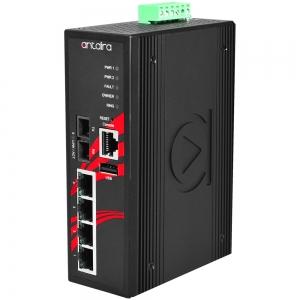 Switch: 4 x 10/100BaseT(X) PoE+, 1 x 100BaseFX multi-mode SC, -10 kuni 70°C, manageeritav, DIN, 12-36VDC