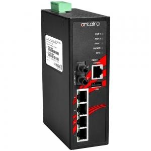 Switch: 4 x 10/100BaseT(X) PoE+, 1 x 100BaseFX single-mode ST, -40 kuni 75°C, manageeritav, DIN, 12-36VDC