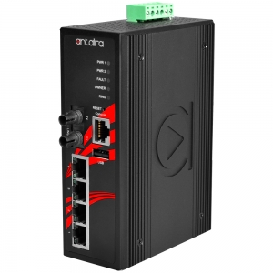 Switch: 4 x 10/100BaseT(X) PoE+, 1 x 100BaseFX single-mode ST, -10 kuni 70°C, manageeritav, DIN, 48-55VDC