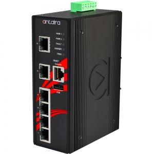 Switch: 4 x 10/100BaseT(X) PoE, 2 x 10/100BaseT(X), -40 kuni 75°C, manageeritav, DIN, 48-55VDC