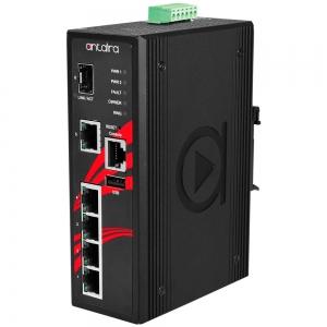 Switch: 4 x 10/100/1000BaseT(X) PoE+, 1 x 10/100/1000BaseT(x), 1 x SFP, -10 kuni 70°C, manageeritav, DIN,12-36VDC