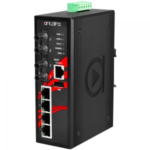 Switch: 4 x 10/100BaseT(X) PoE+, 2 x 100BaseFX single-mode ST, -10 kuni 70°C, manageeritav, DIN, 12-36VDC