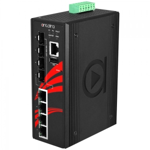 Switch: 4 x 10/100/1000BaseT(X) PoE+, 4 x SFP, -10 kuni 70°C, manageeritav, DIN, 48-55VDC