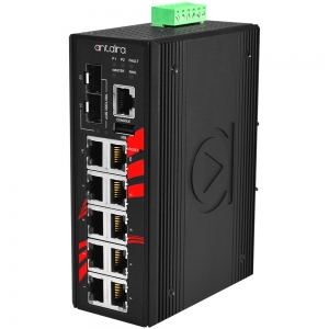 Switch: 8 x 10/100BaseT(X) PoE+, 2 x 10/100/1000BaseT(x) / 2 x SFP, -40 kuni 75°C, manageeritav, DIN, 12-36VDC, ATEX