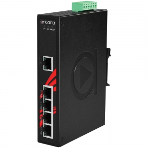Switch: 4 x 10/100/1000BaseT(X) PoE+, 1 x 10/100/1000BaseT(X), -40 kuni 80°C, mittemanageeritav, DIN, 48-55VDC