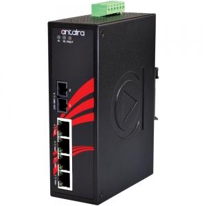 Switch: 4 x 10/100BaseT(X) PoE, 1 x 100BaseFX multi-mode SC, -10 kuni 70°C, mittemanageeritav, DIN, 12-36VDC