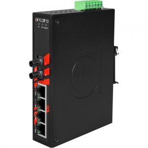 Switch: 4 x 10/100BaseT(X) PoE, 1 x 100BaseFX multi-mode ST, -40 kuni 80°C, mittemanageeritav, DIN, 48-55VDC