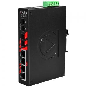 Switch: 4 x 10/100BaseT(X) PoE+, 2 x 100BaseFX multi-mode SC, slim, -10 kuni 70°C, mittemanageeritav, DIN, 48-55VDC
