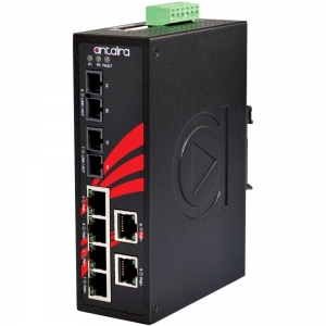 Switch: 6 x 10/100BaseT(X) PoE+, 2 x 100BaseFX multi-mode SC, -40 kuni 80°C, mittemanageeritav, DIN, 12-36VDC