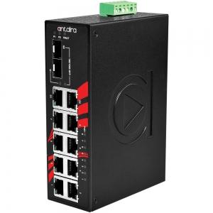 Switch: 8 x 10/100BaseT(X) PoE+, 1 x 10/100/1000BaseT(x) / 2 x SFP, -40 kuni 80°C, mittemanageeritav, DIN, 48-55VDC