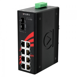 Switch: 8 x 10/100/1000BaseT(X) PoE+, 2 x 10G SFP, -40 kuni 60°C, mittemanageeritav, DIN, 24-55VDC