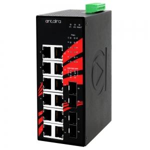 Switch: 12 x 10/100/1000BaseT(X) PoE+, 4 x SFP, -40 kuni 80°C, mittemanageeritav, DIN, 48-55VDC