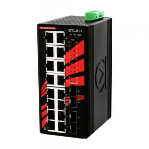 Switch: 16 x 10/100/1000BaseT(X) PoE+, 4 x SFP, -40 kuni 80°C, mittemanageeritav, DIN, 48-55VDC
