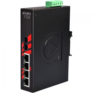 Switch: 4 x 10/100BaseT(X), 1 x 100BaseFX multi-mode SC, slim, -10 kuni 70°C, mittemanageeritav, DIN