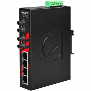 Switch: 4 x 10/100BaseT(X), 2 x 100BaseFX multi-mode ST, slim, -40 kuni 80°C, mittemanageeritav, DIN