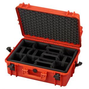 Transpordikast 555x428xH211mm veekindel, oranž, polsterdatud lahtrid, vahuga