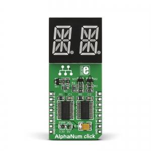 AlphaNum G click - 2x14-segment LED displei, roheline