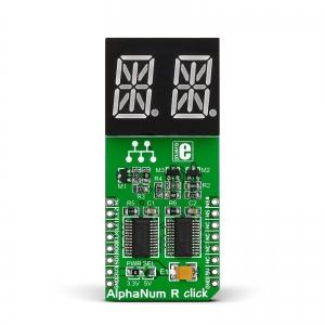 AlphaNum R click - 2x14-segment LED displei, punane