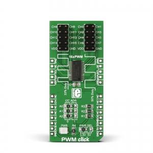 PWM click - PCA9685  16-kanaliga PWM kontroller