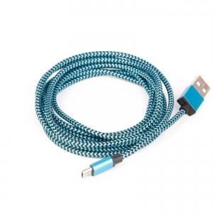 USB kaabel, USB-A - Micro-B, punutud riidest kattega, 2m, sinine